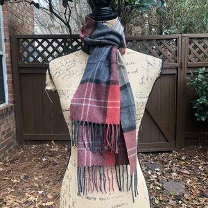 Cashmere Checkered Boho Winter Fringe Scarf